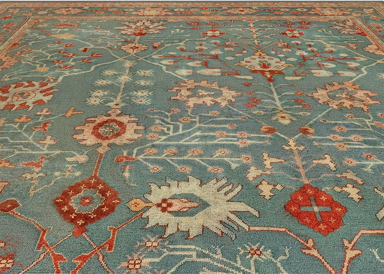 Hand-Knotted Antique Turkish Oushak Green, Orange and Pink Wool Rug For Sale