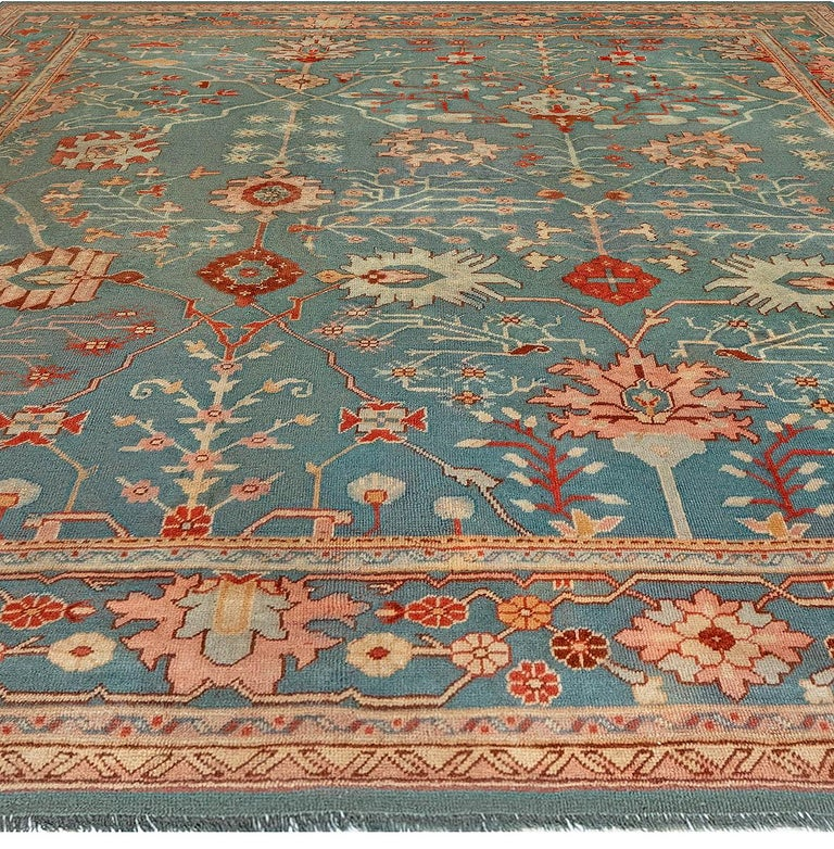 Antique Turkish Oushak Green, Orange and Pink Wool Rug In Good Condition For Sale In New York, NY
