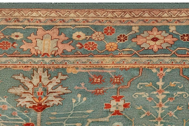 Antique Turkish Oushak Green, Orange and Pink Wool Rug For Sale 1