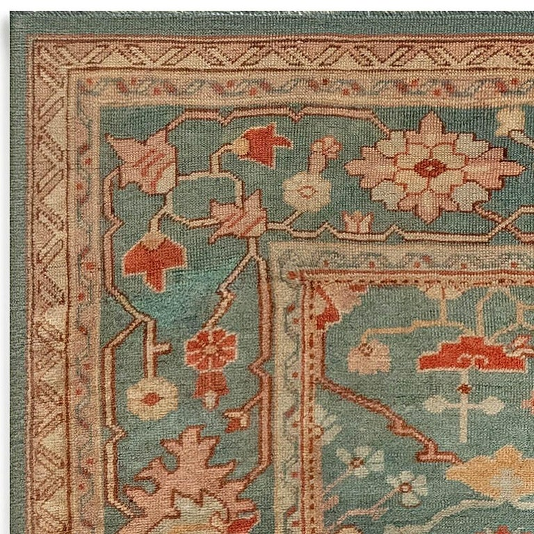 Antique Turkish Oushak Green, Orange and Pink Wool Rug For Sale 2