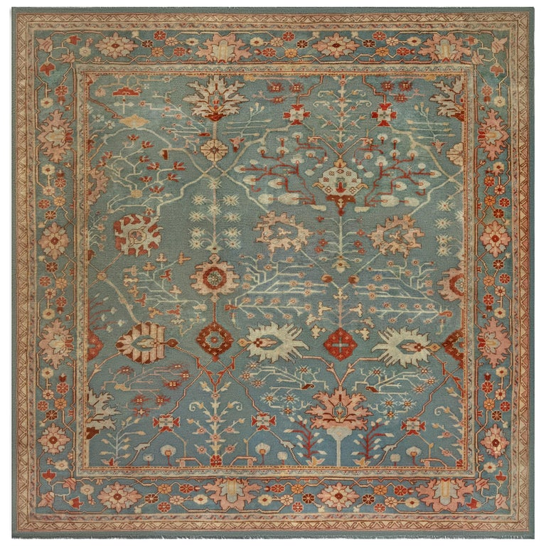 Antique Turkish Oushak Green, Orange and Pink Wool Rug For Sale