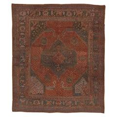 Antique Turkish Oushak Large Carpet, Orange & Teal Palette, Circa 1920s