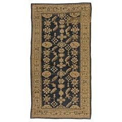Antique Turkish Oushak Light Beige and Midnight Blue Handwoven Wool Rug