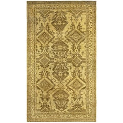 Antique Turkish Oushak Light Yellow & Brown Handwoven Wool Rug, Size Adjusted