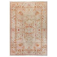 Antique Turkish Oushak Orange and Pale Pink Handwoven Wool Rug