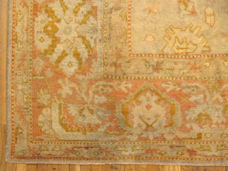 Hand-Knotted Antique Turkish Oushak Oriental Carpet, Large Size, Soft Colors & Allover Design For Sale