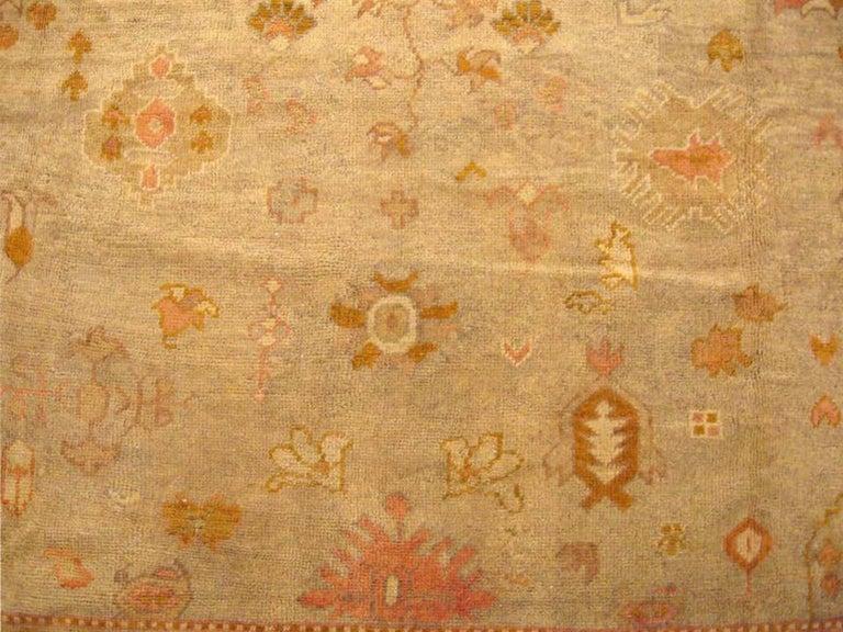 Wool Antique Turkish Oushak Oriental Carpet, Large Size, Soft Colors & Allover Design For Sale