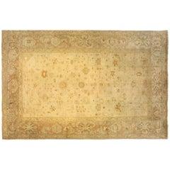 Antique Turkish Oushak Oriental Carpet, Large Size, Soft Colors & Allover Design