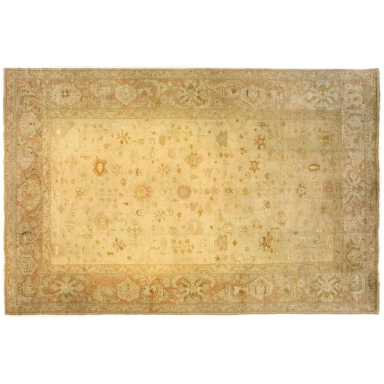 Antique Turkish Oushak Oriental Carpet, Large Size, Soft Colors & Allover Design For Sale