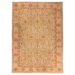 Antique Turkish Oushak Pale Golden Yellow Handwoven Wool Carpet