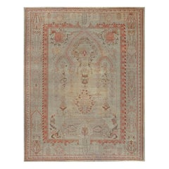 Antique Turkish Oushak Pink, Red, Beige and Gray Handwoven Wool Rug