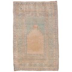 Antique Turkish Oushak Prayer Rug, circa 1930s, Soft Palette