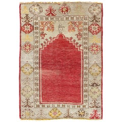 Antique Turkish Oushak Prayer Rug in Red, Ivory, Green, and Yellow