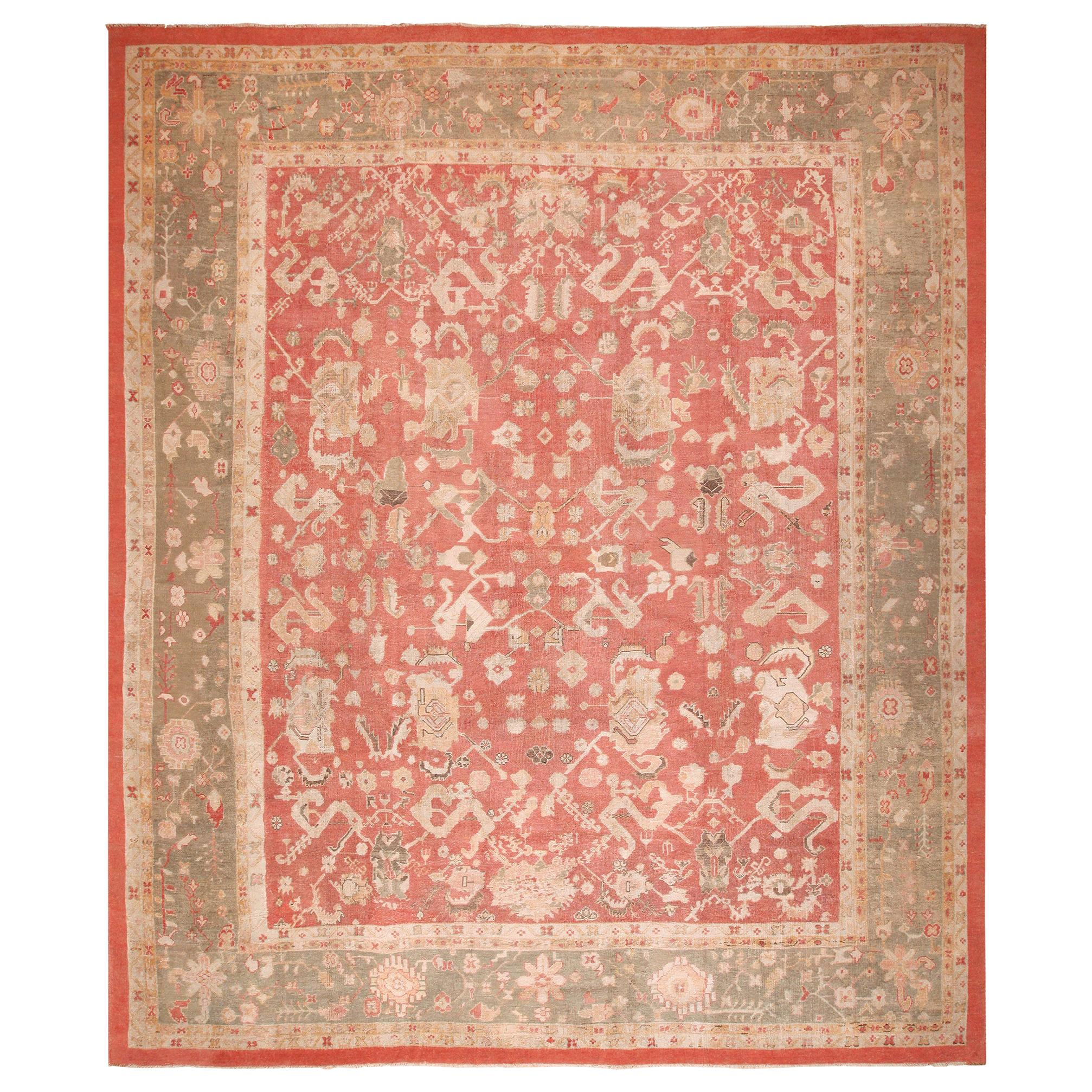 Antique Turkish Oushak Rug. Size: 13 ft. 6 in x 16 ft. 6 in