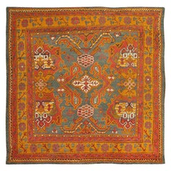 Antique Turkish Oushak Rug. Size: 5 ft 5 in x 5 ft 5 in (1.65 m x 1.65 m)