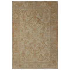 Antique Turkish Oushak Rug in Taupe, Beige, Green and Copper