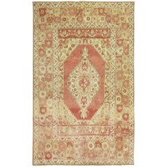 Antique Turkish Oushak Rug Melon Red Brown Accent 20th Century Rug