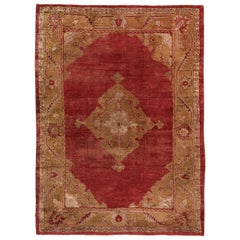 Antique Turkish Oushak Rug, Red Field and Gold Borders, Center Medallion