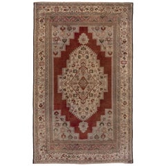 Antique Turkish Oushak Rug, Red Outer Field, Ecru Borders and Ecru Medallion