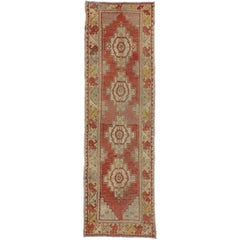 Antique Turkish Oushak Rug Runner in Traditional Medallion Style