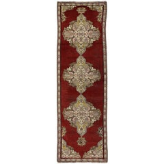 Antique Turkish Oushak Runner with Traditional Style, Hallway Runner