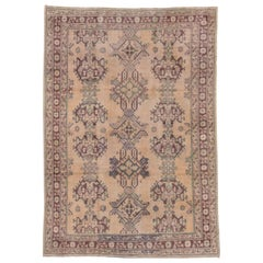 Antique Turkish Oushak Rug, Straw Field, Green and Purple Accents, circa 1920s
