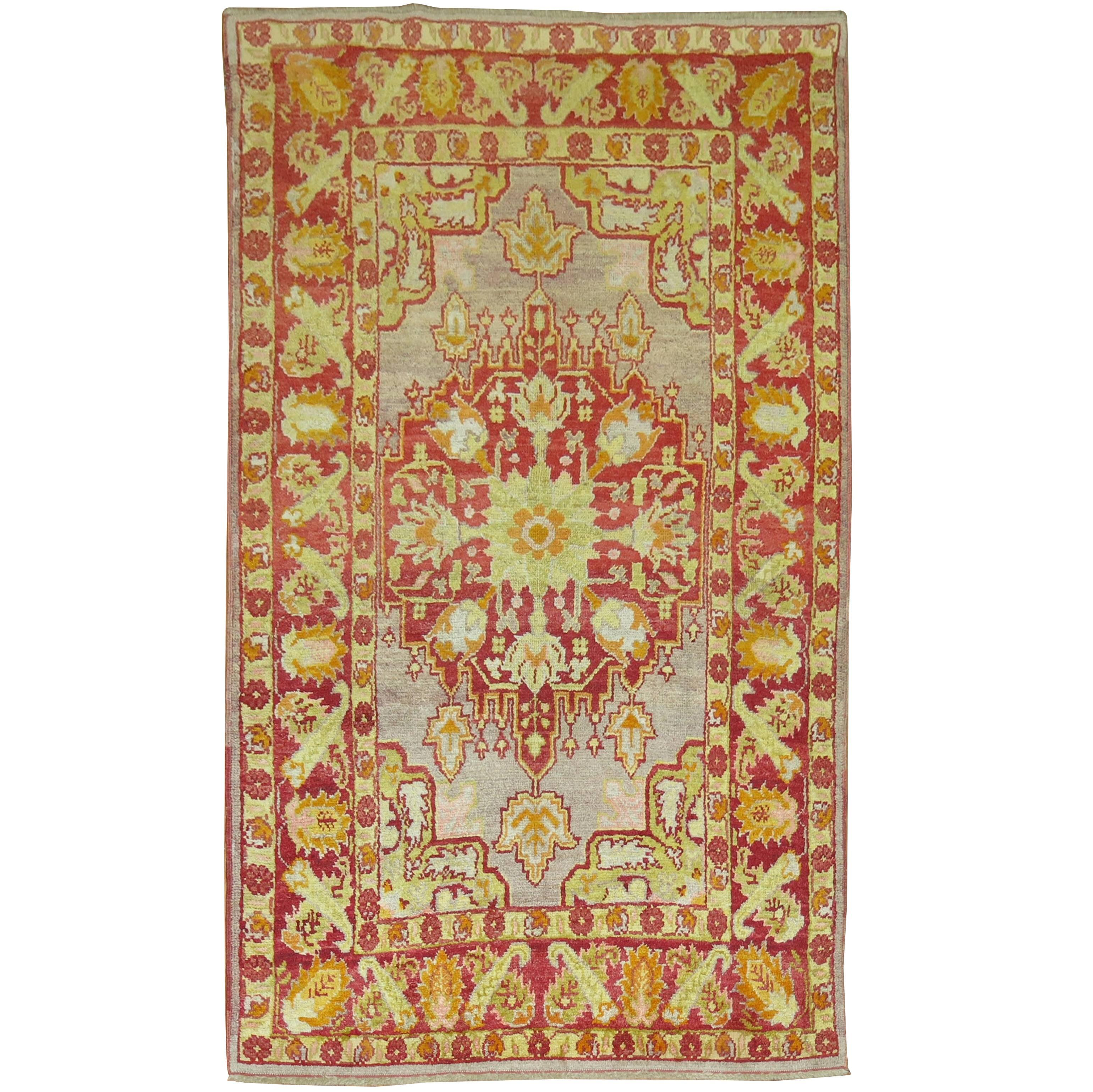 Antique Turkish Oushak Rug with Lime Green Accents