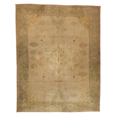 Antique Turkish Oushak Rug with Rustic English Country Cottage Style