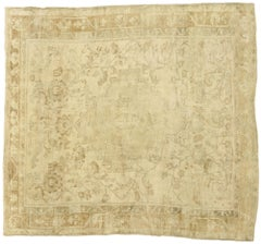 Antique Turkish Oushak Rug with Rustic French Cottage Style
