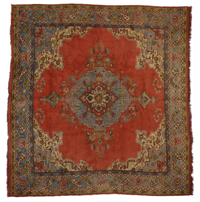 Antique Turkish Oushak Rug With Warm And Rustic Spanish