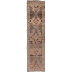 Antique Turkish Oushak Runner, Abrashed Gray Field, Pink and Coral Accents