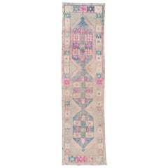 Antique Turkish Oushak Runner, Pastel Colors