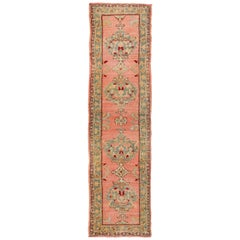 Antique Turkish Oushak Runner with Medallions in Coral Background & Green Border