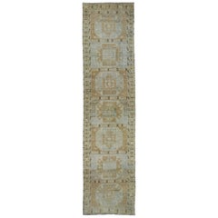 Antique Turkish Oushak Runner with Modern Tribal Style