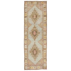 Antique Turkish Oushak Runner with Three-Layered Medallions