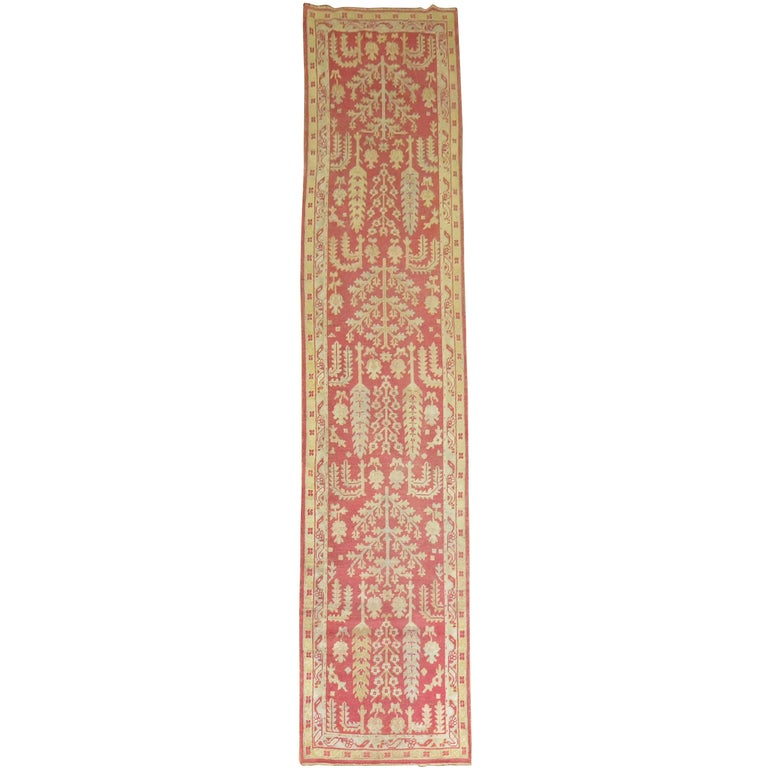 Antique Turkish Oushak Runner with Tree Design For Sale