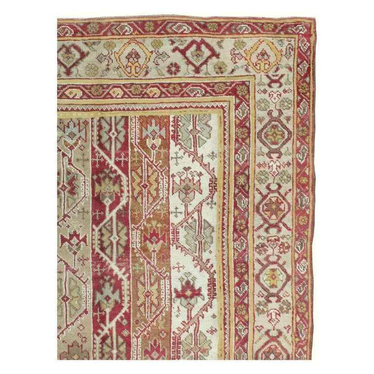 Hand-Knotted Antique Turkish Oushak Square Room Size Rug For Sale