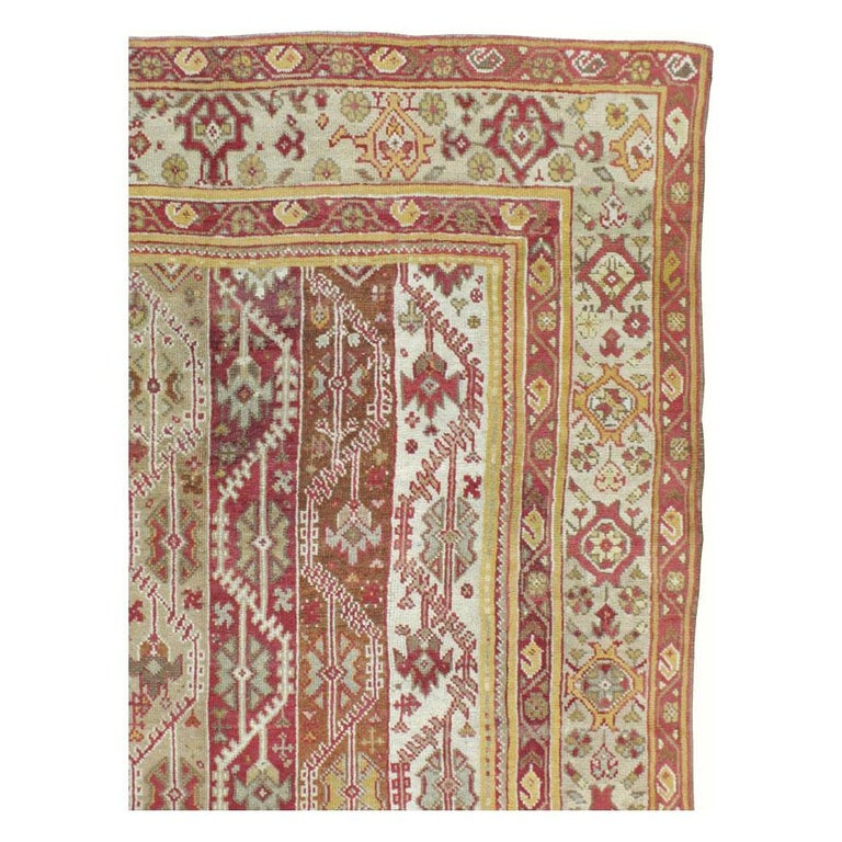 Antique Turkish Oushak Square Room Size Rug In Good Condition For Sale In New York, NY
