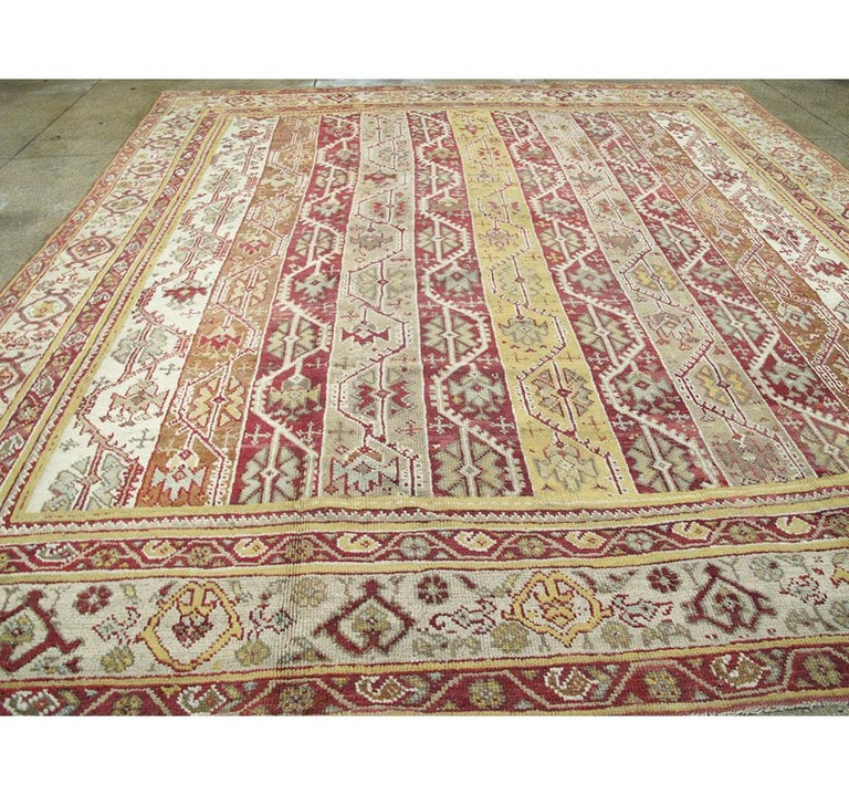 20th Century Antique Turkish Oushak Square Room Size Rug For Sale
