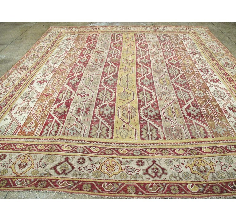 Wool Antique Turkish Oushak Square Room Size Rug For Sale