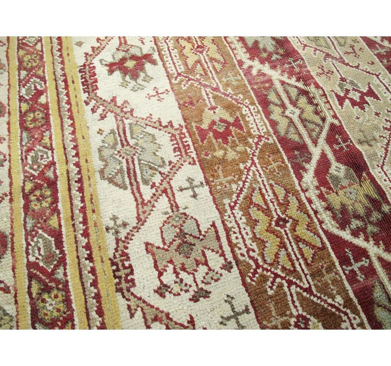 Antique Turkish Oushak Square Room Size Rug For Sale 1