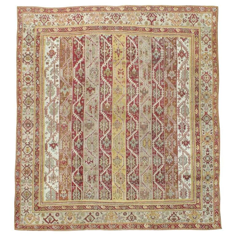 Antique Turkish Oushak Square Room Size Rug For Sale