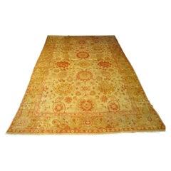 Antique Turkish Oushak Wool Pile Rug Large Size