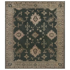 Antique Turkish Oushak Wool Rug in Beige, Gray and Green