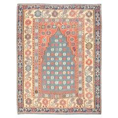 Antique Turkish Prayer Design Kilim Rug. Size: 4 ft 3 in x 5 ft 4 in