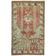 Antique Turkish Prayer Niche Scatter Size Rug