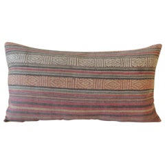 Antique Turkish Red and Black Woven Stripes Long Decorative Bolster Pillow