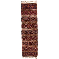 Antique Turkish Red and Blue Multi-Color Wool Kilim Rug