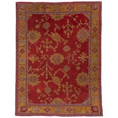 Antique Turkish Red Oushak Carpet, Yellow Borders, circa 1910s