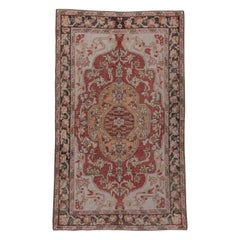 Antique Turkish Red Oushak Rug, Shabby Chic, Distressed, Red and Ivory Field